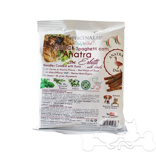 Officinalis Spaghetti Anatra ed Erbette Snack per Cani