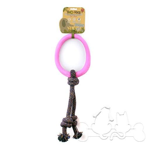 Beco Hoop Anello con Corda Eco-Compatibile Rosa per Cani