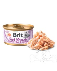 Brit Fish Dreams umido gatto filetto di pollo e gamberetti 80g