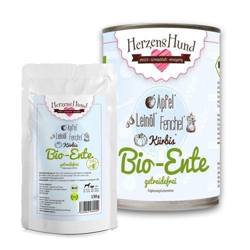 Herzens Hund Anatra Bio con Verdure Bio Senza Cereali Umido Per Cani